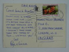 A handwritten postcard to the Kastner family signed by ROGER and LOUISA MOORE - this has been