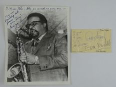 A pair of signed items comprising GENE 'JUG' AMMONS (jazz musician) signed 10 x 8 black/white
