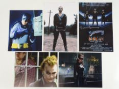 A selection of signed colour photographs (10x8 (3) and 12x8 (2)) from SUPERMAN and BATMAN: ADAM