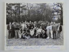A multi-signed black/white 10 x 8 photograph of the cast and crew of 'Yesterday's Hero', to