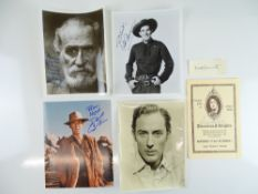 A group of six signed items comprising KEENAN WYNN, ROD CAMERON and MICHAEL WILDING signed 10 x 8