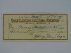 A ROD STEIGER signed cheque dated May 7th 1954 - this has been independently checked and will be