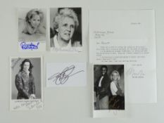 A collection of signed black/white photographs/postcard comprising LAURENCE LLEWELYN-BOWEN,