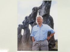 A signed 10x8 colour photograph - DAVID ATTENBOROUGH (on Easter Island) - this has been