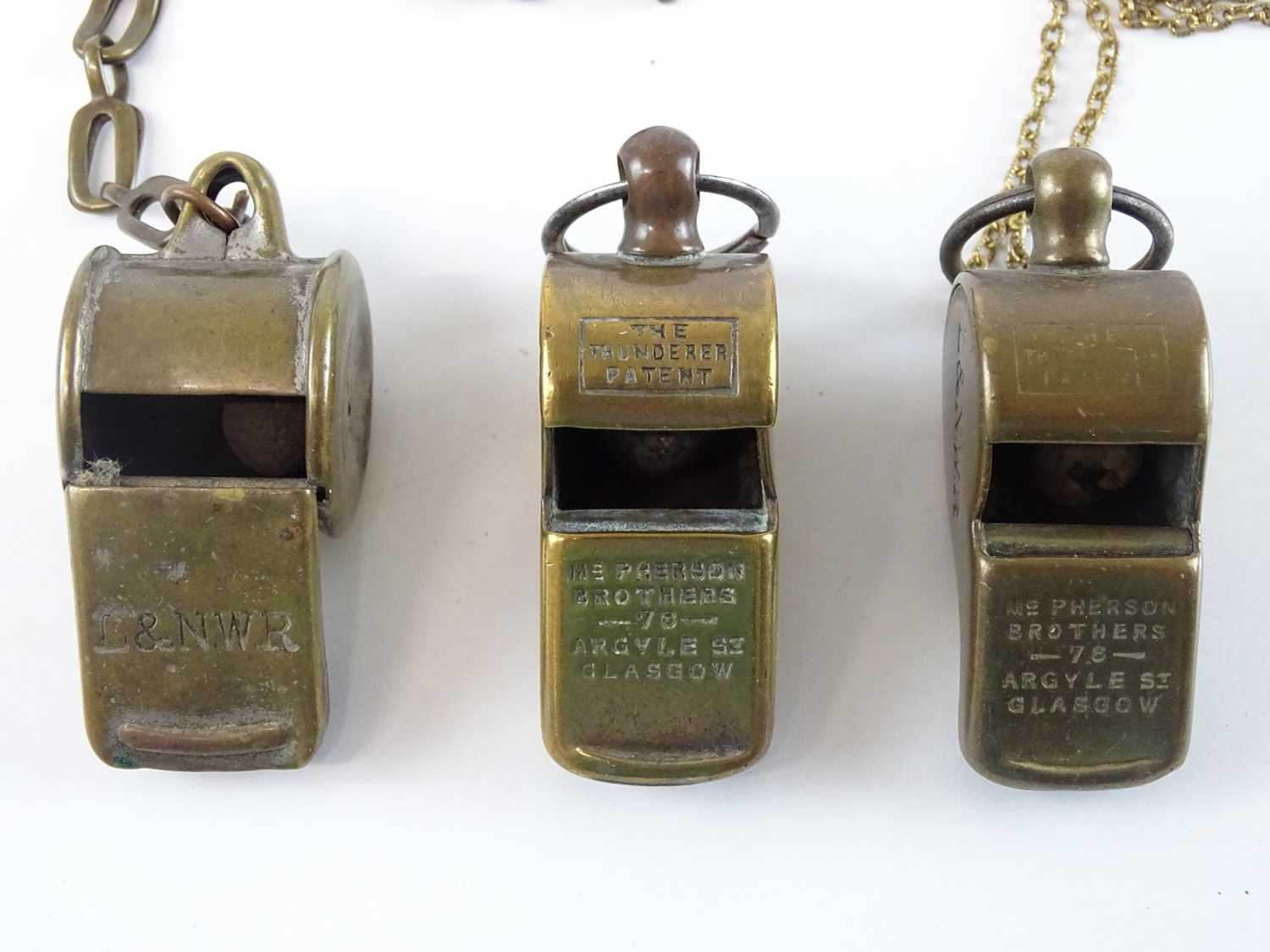 A group of brass Thunderer Patent whistles all stamped for the L&NWR two marked additionally for the - Image 2 of 3