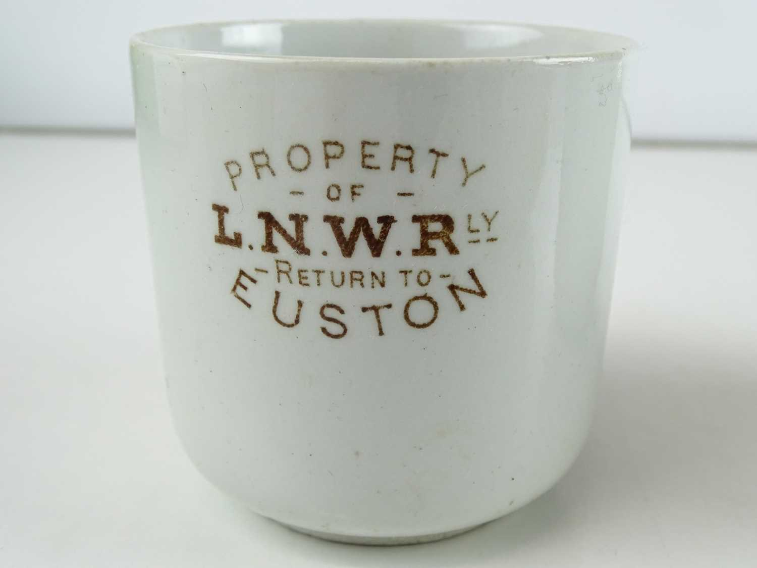A group of early railway crockery items comprising 2 x L&NWR teapots (one marked Crewe), an LNWR - Image 4 of 8