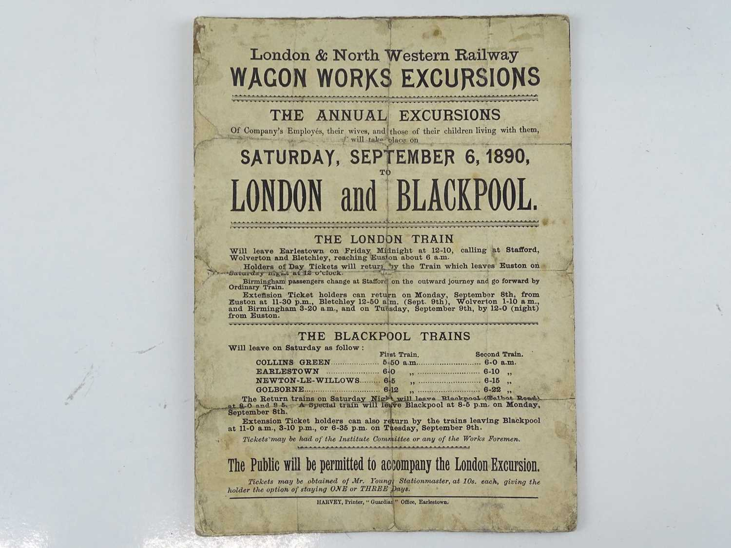 """A small pamphlet (7.5"""" x 10"""") dated Sep 6th 1890 advertising the London and North Western Railway '"""