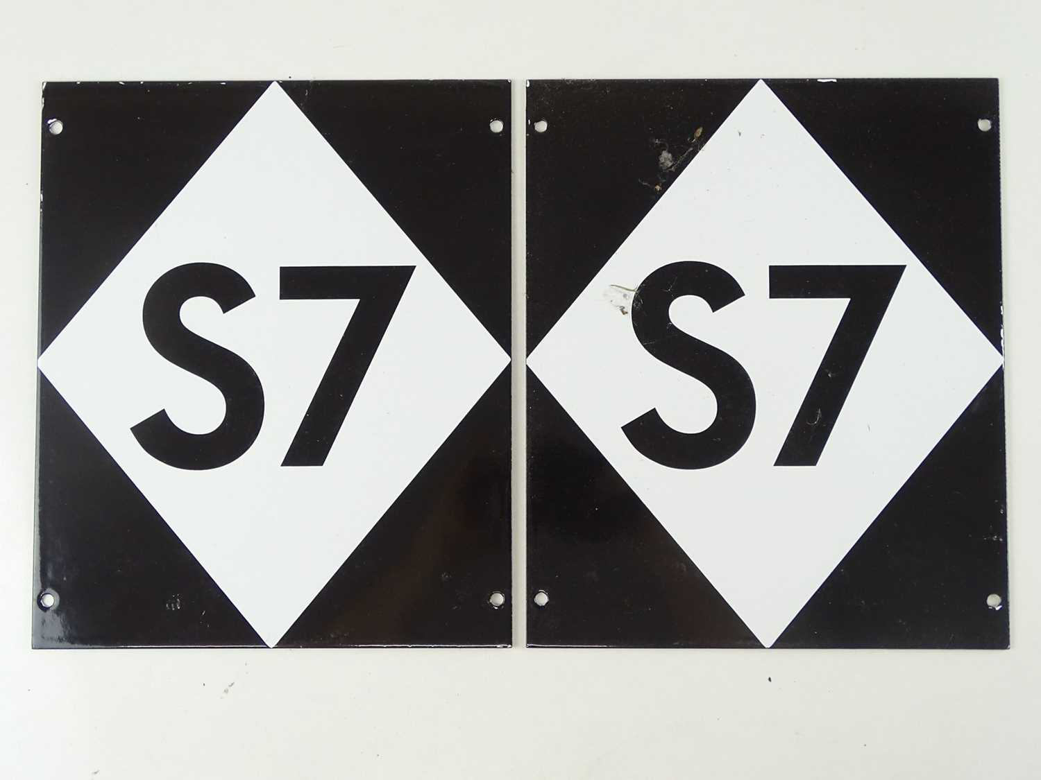 A pair of London Underground station platform stop signs for S7 series rolling stock (2)