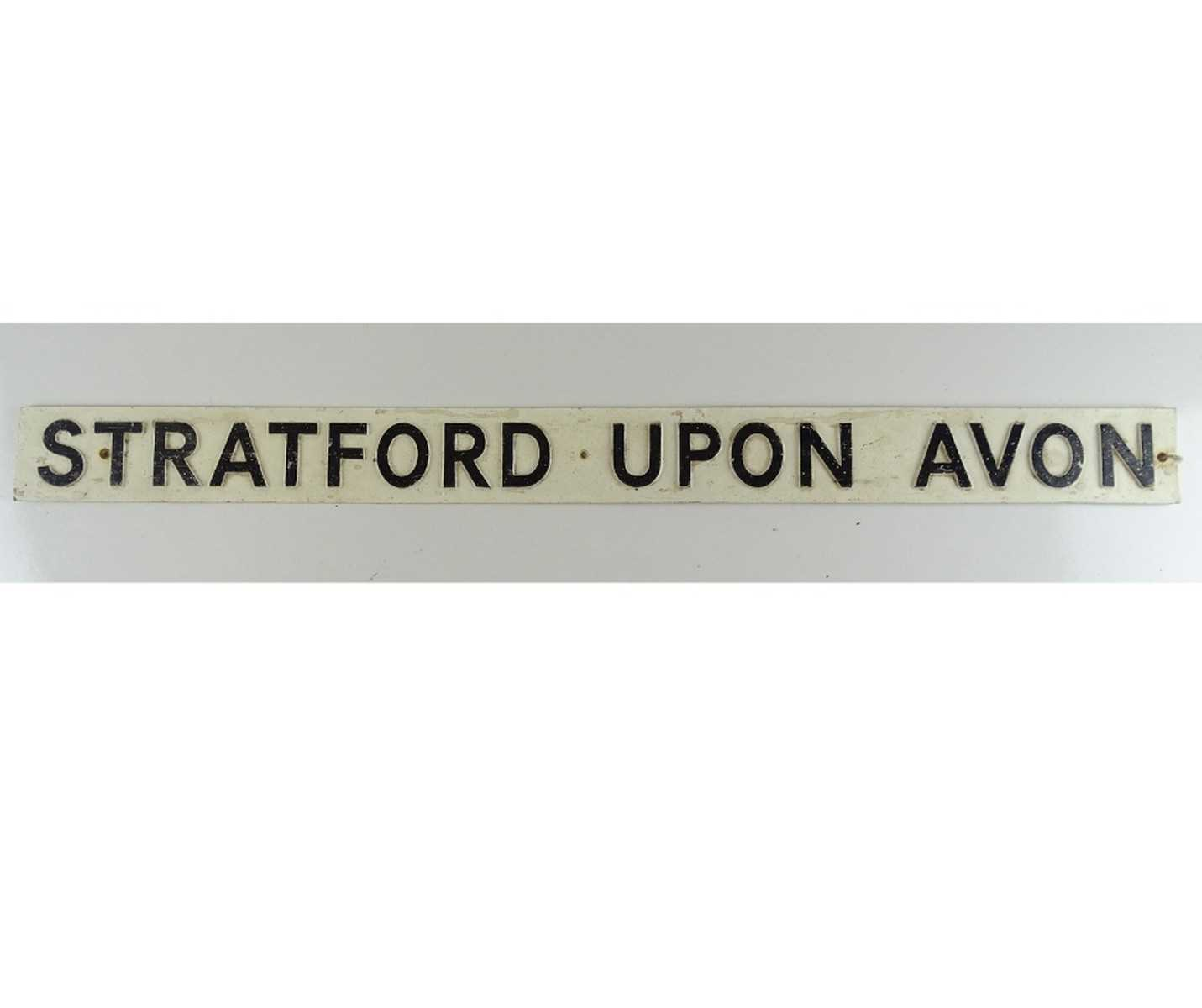 A railway bench sign 'Stratford upon Avon' - this would have been attached to the rear of a platform