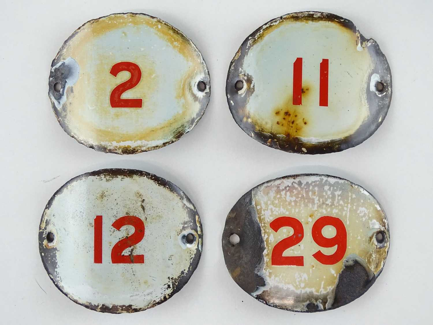 A selection of enamelled signal lever plates as lotted (4)