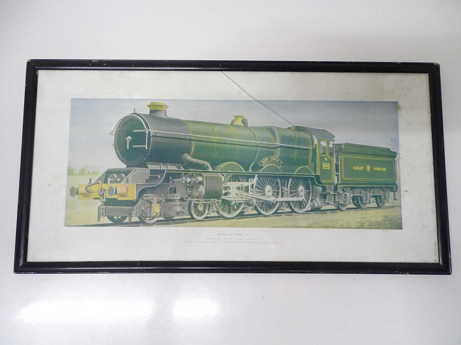 """A framed and glazed print (14"""" x 27.5"""") of GWR 'King George V' steam locomotive - crack to glass"""