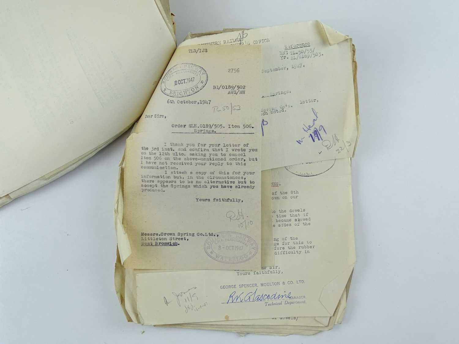 A bundle of correspondence between the offices of Bulleid and various engineering companies all - Image 4 of 4