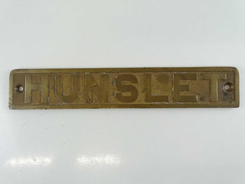 "A brass Hunslet diesel shunting locomotive bonnet plate (17"" x 3"")"