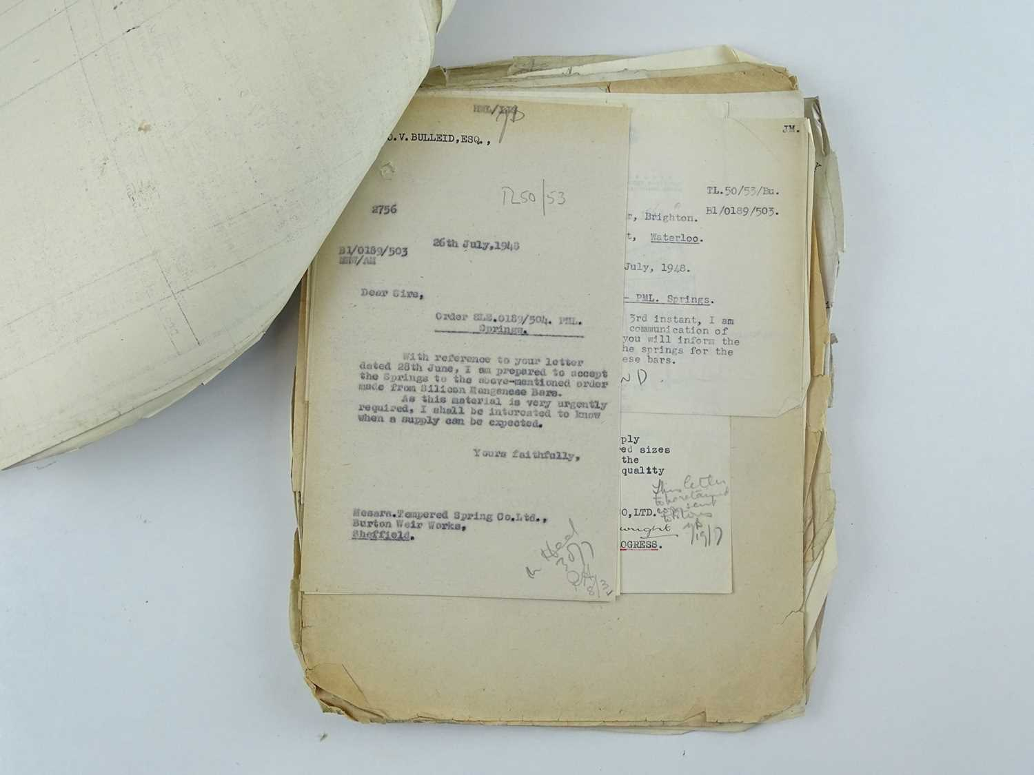 A bundle of correspondence between the offices of Bulleid and various engineering companies all - Image 2 of 4