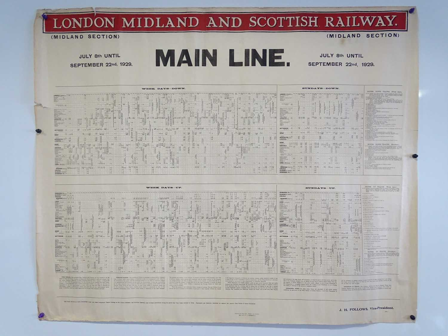 LONDON, MIDLAND and SCOTTISH RAILWAY Mainline (Midland Section) Timetable posters - July 8th -
