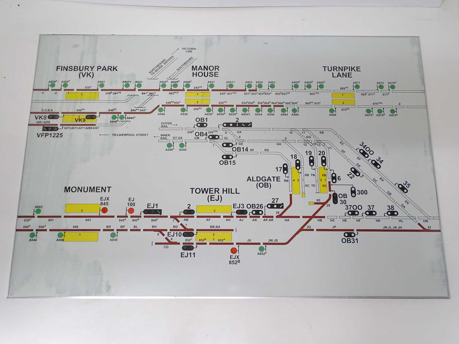 A large London Underground glass signalling panel from Earls Court Power Box - covering the Tower