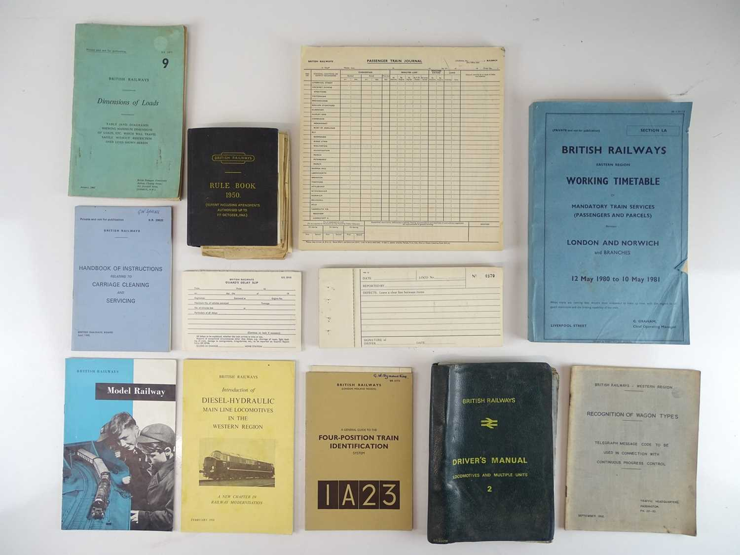 A selection of railway printed papers to include: timetables, manuals and rule books (12)