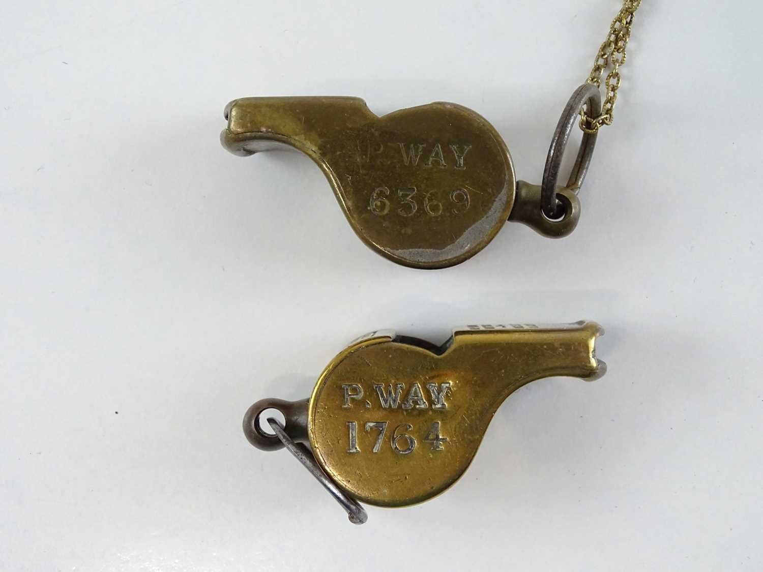A group of brass Thunderer Patent whistles all stamped for the L&NWR two marked additionally for the - Image 3 of 3