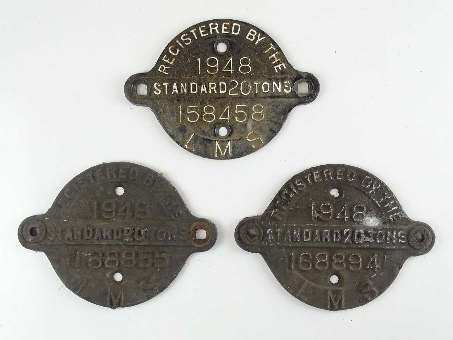 A group of three LMS cast iron wagon plates all dated 1948 (3)