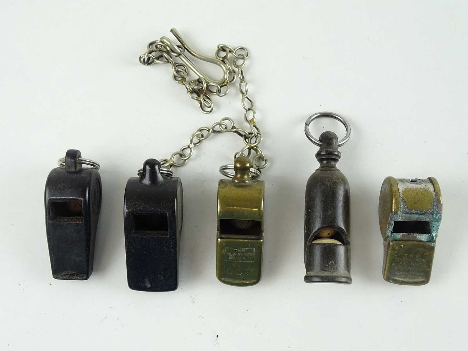 A mixed group of whistles including bone, brass and bakelite examples companies include GWR,