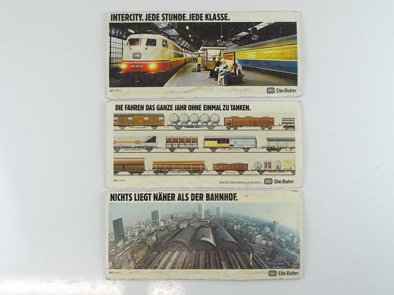 A group of German passenger carriage card advertising boards for Deutsche Bundesbahn circa 1970s (