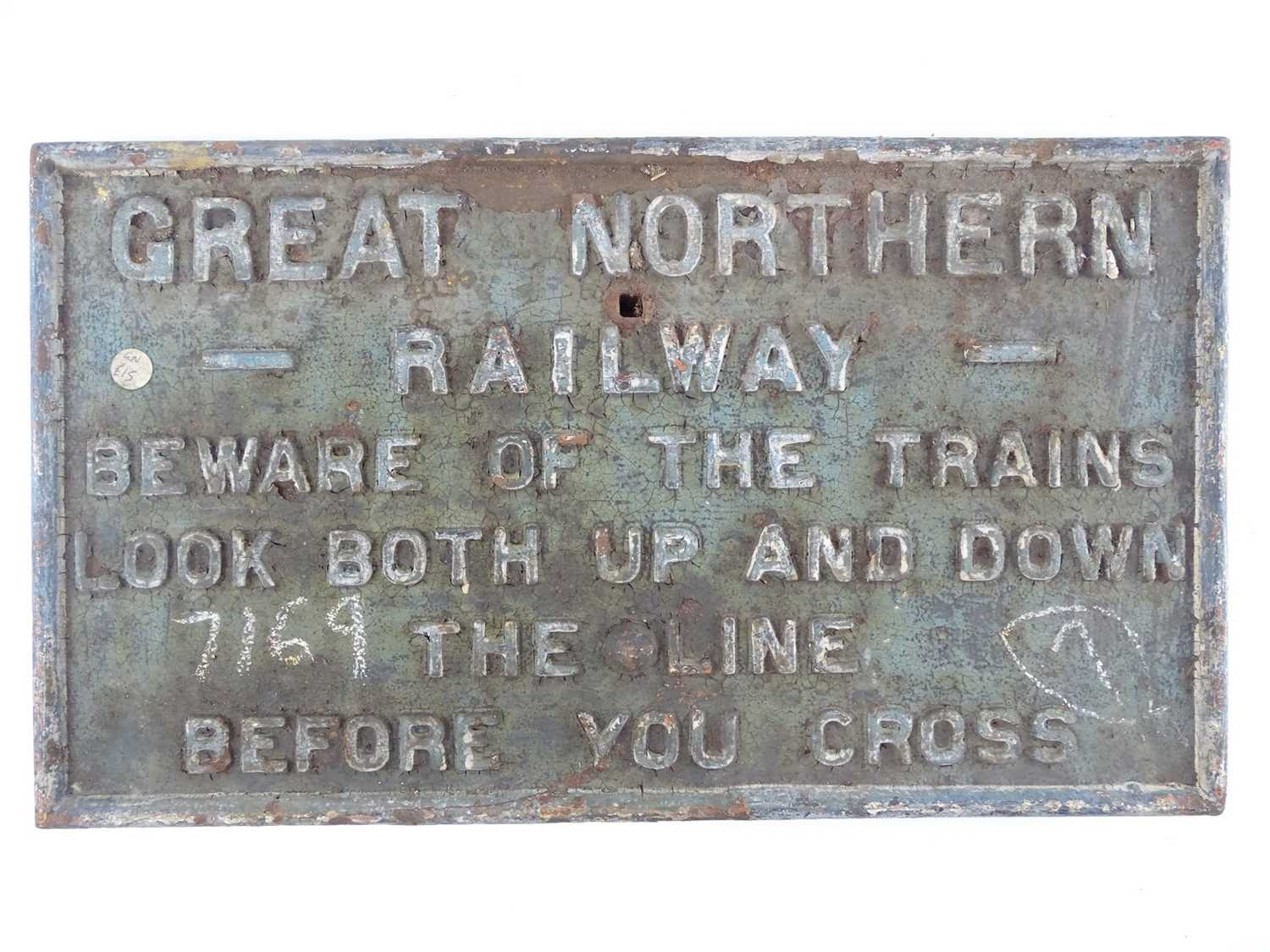 """A cast iron railway sign for the Great Northern Railway 'Beware of the Trains' (22"""" x 12"""")"""