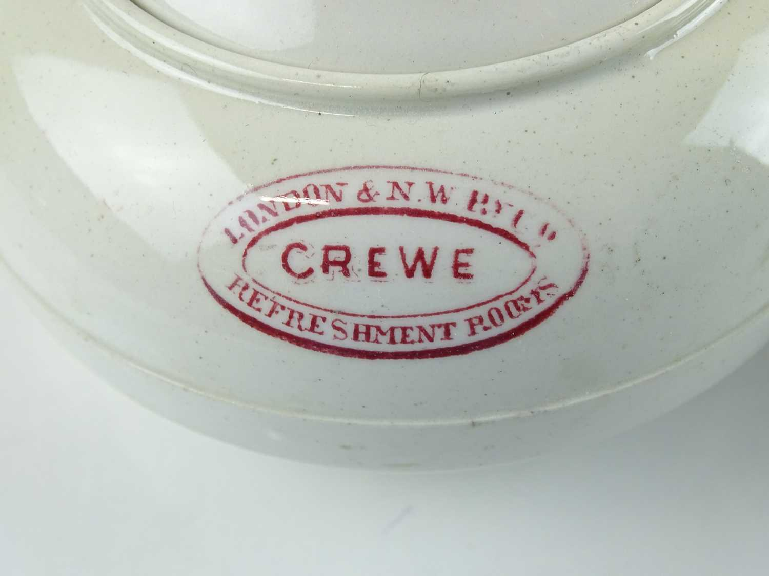 A group of early railway crockery items comprising 2 x L&NWR teapots (one marked Crewe), an LNWR - Image 2 of 8