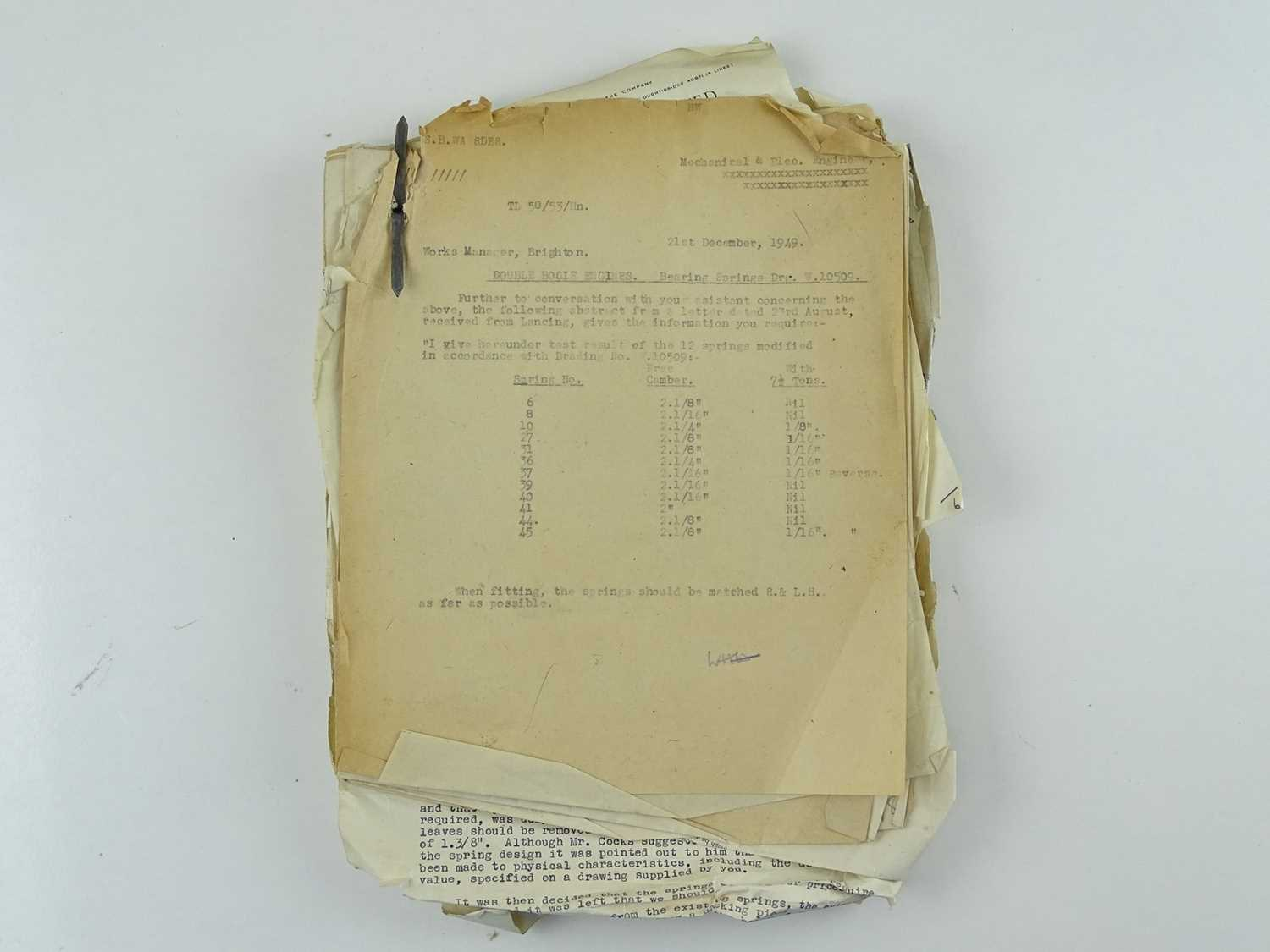 A bundle of correspondence between the offices of Bulleid and various engineering companies all