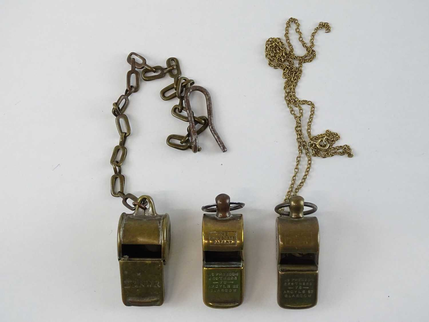 A group of brass Thunderer Patent whistles all stamped for the L&NWR two marked additionally for the