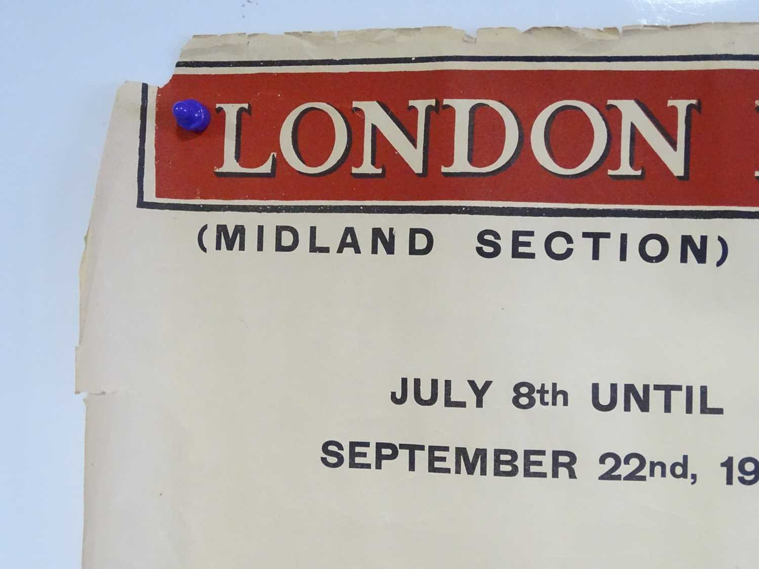 LONDON, MIDLAND and SCOTTISH RAILWAY Mainline (Midland Section) Timetable posters - July 8th - - Image 13 of 15