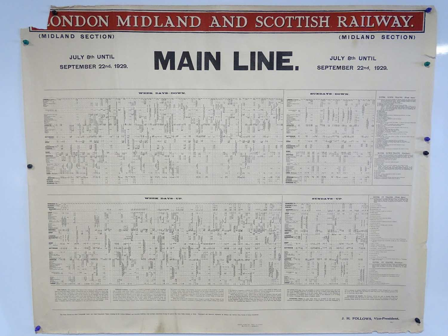 LONDON, MIDLAND and SCOTTISH RAILWAY Mainline (Midland Section) Timetable posters - July 8th - - Image 6 of 15