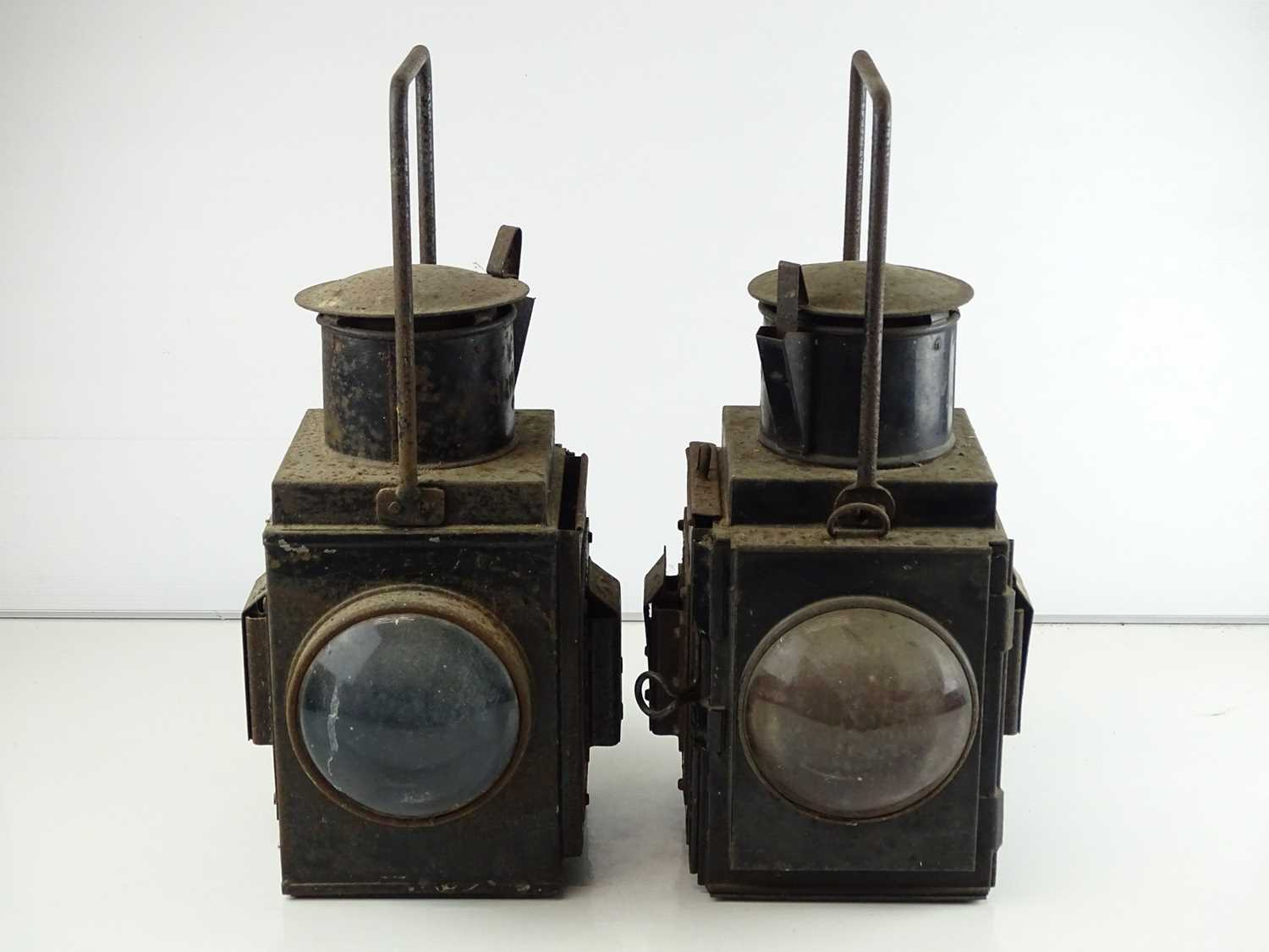 A pair of railway goods train side lamps (2)
