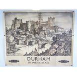 """DURHAM BRITISH RAILWAYS- See England by Rail (1950) - Kenneth Steel - Quad Royal Poster (40"""" x 50"""" )"""