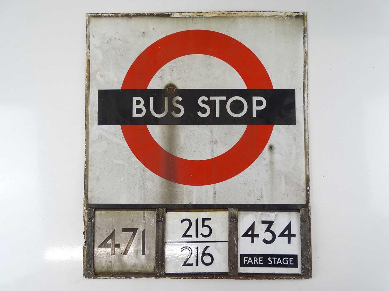 "A London Transport 'roundel' enamel bus stop flag - E3 size with E plates (18"" x 21"")"