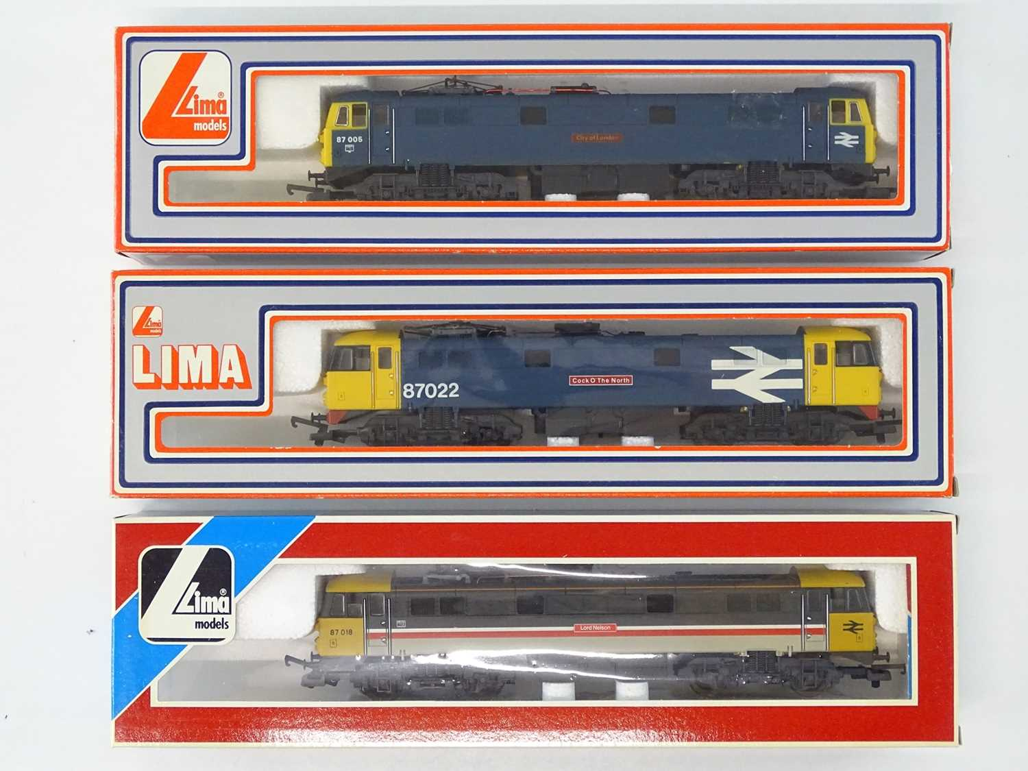 A group of LIMA OO Gauge Class 87 electric locomotives in various BR liveries - G/VG in G boxes (3)