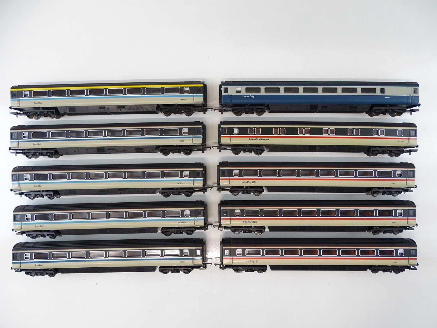 A group of unboxed LIMA Mark 3 OO Gauge coaches in Intercity and ScotRail liveries - G/VG (10)