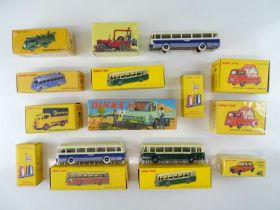 A large quantity of ATLAS DINKY lorries, vans buses and a car from the French range - VG in G