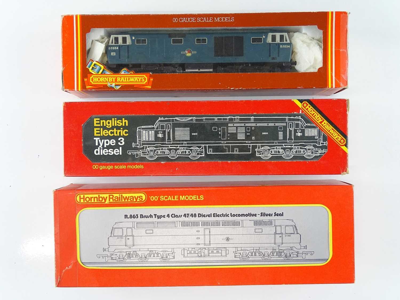 A group of HORNBY OO Gauge diesel locomotives comprising: A Hymek D7034 (repainted); R751 Class 37