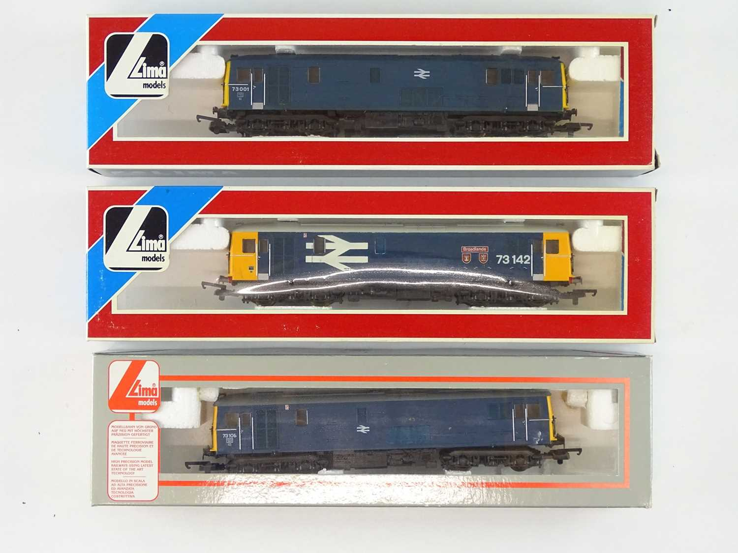 A group of LIMA OO Gauge Class 73 electro-diesel locomotives in BR blue and large logo blue liveries
