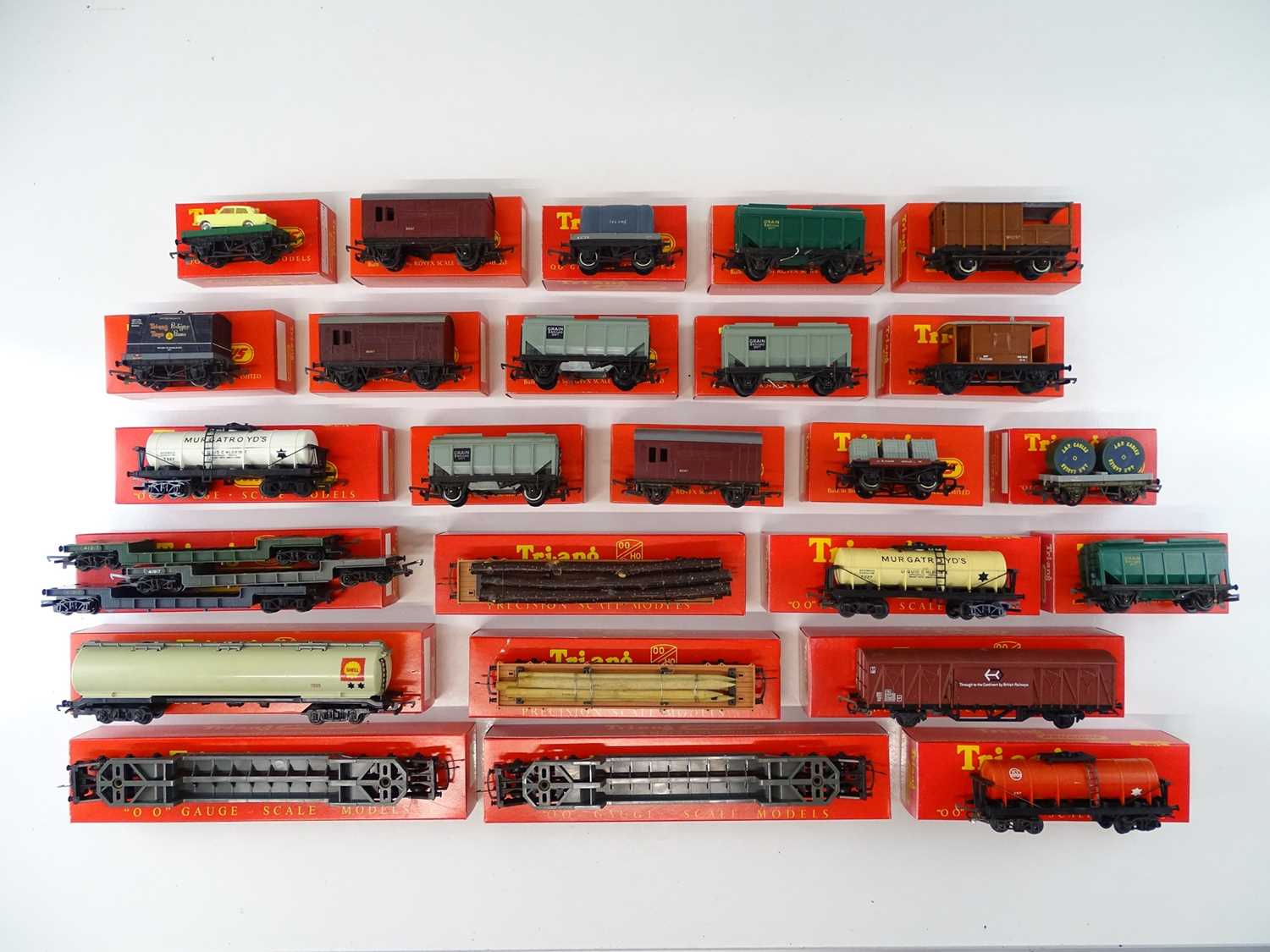A large quantity of TRI-ANG wagons all in repro boxes - G in G boxes (27 wagons in 25 boxes)