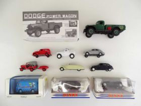 A group of diecast cars and vans by NOREV, DINKY etc, mostly French outline, together with a 1ST