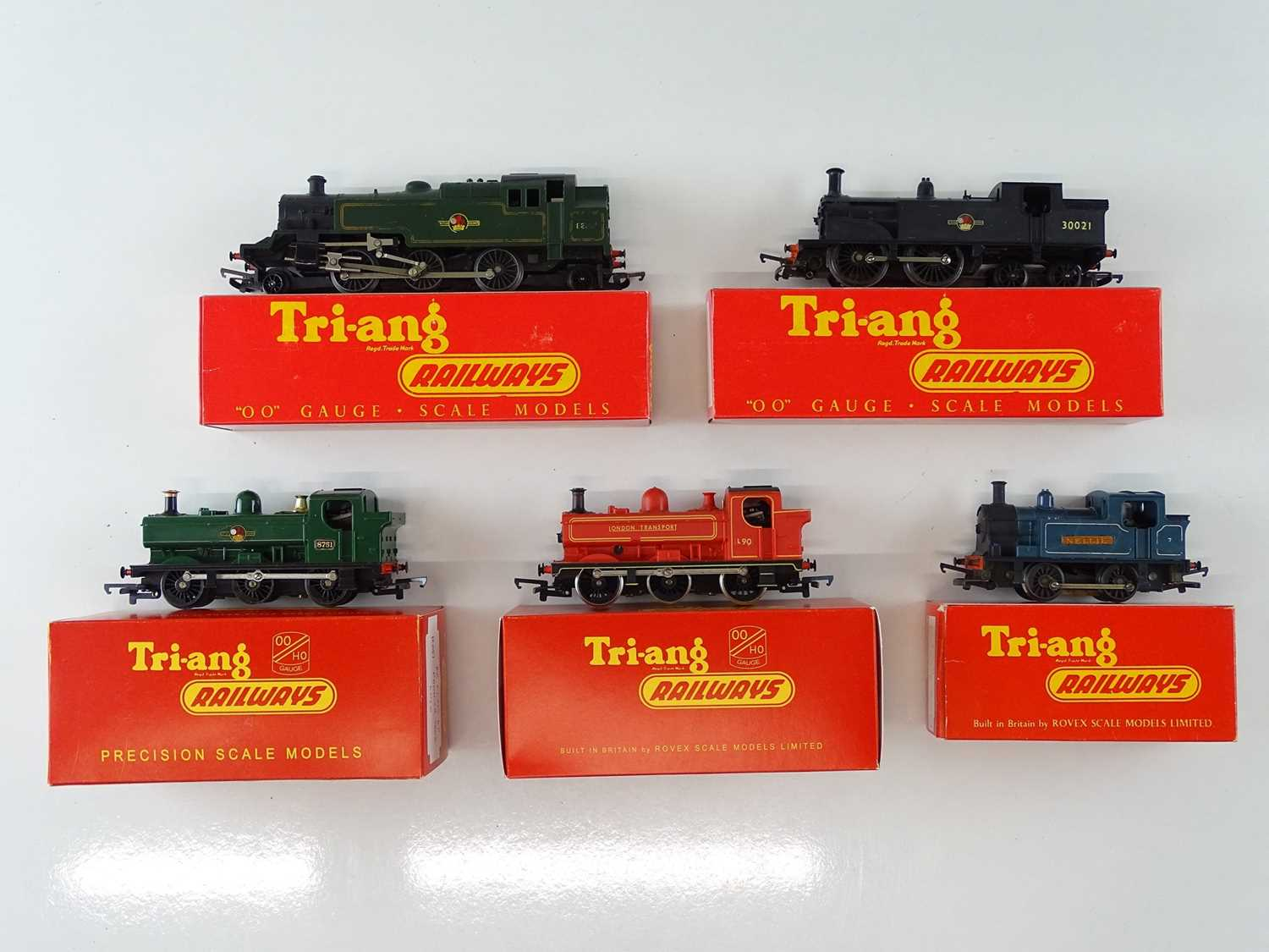 A group of TRI-ANG and HORNBY OO Gauge steam tank locomotives as lotted - all in reproduction TRI-