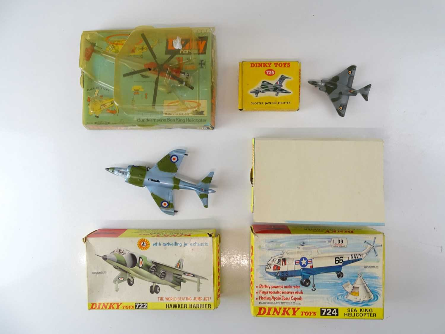 A group of DINKY Military Aircraft comprising: 724 and 736 Sea King Helicopters together with 722