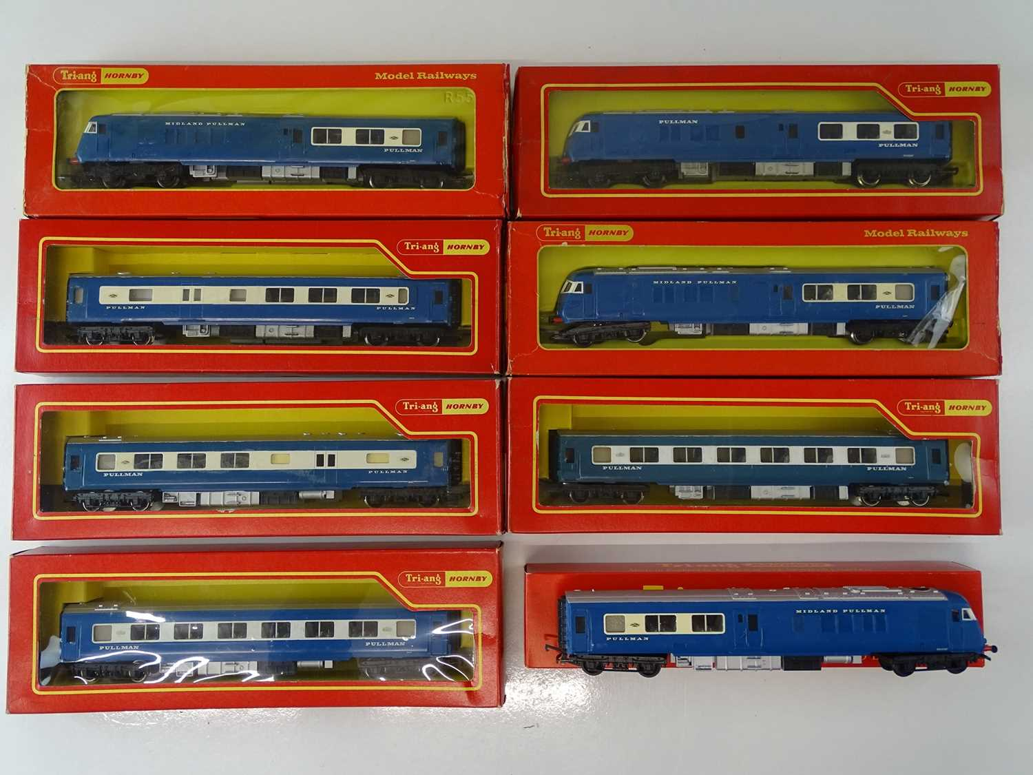 A group of TRI-ANG - HORNBY OO Gauge blue Pullman sets - one car in repro box - G/VG in F/G boxes (