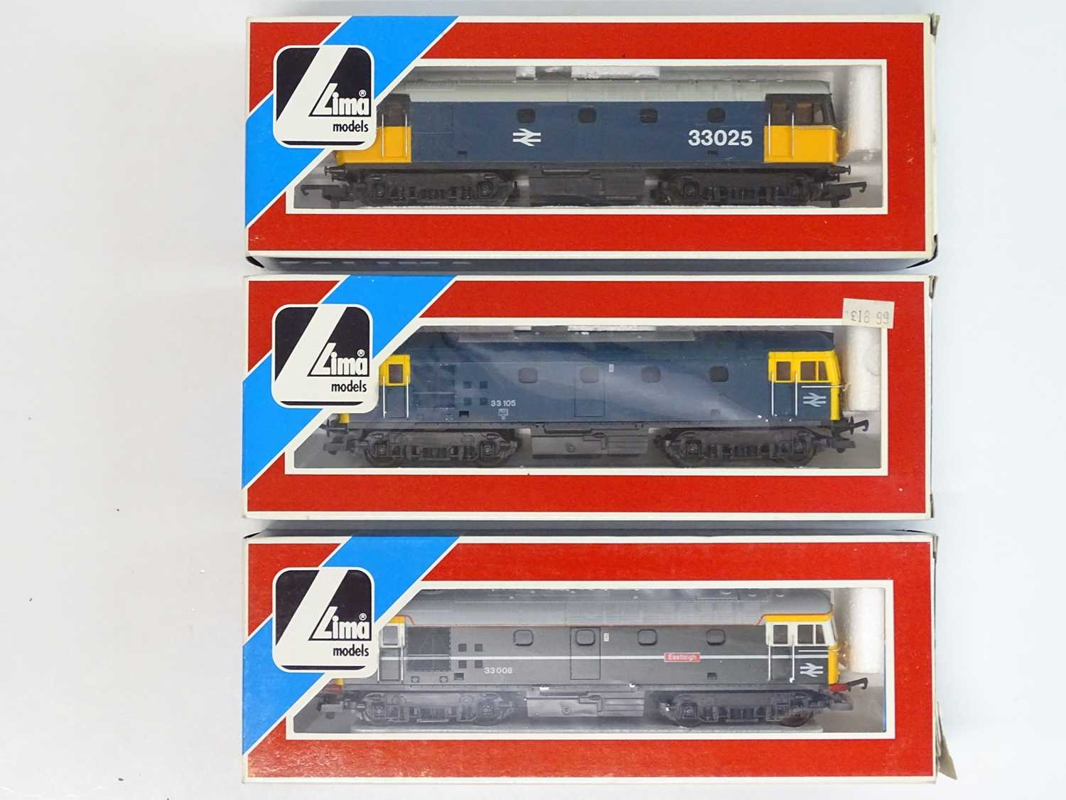 A group of three LIMA OO Gauge Class 33 diesel locomotives in BR blue and green liveries - VG in G