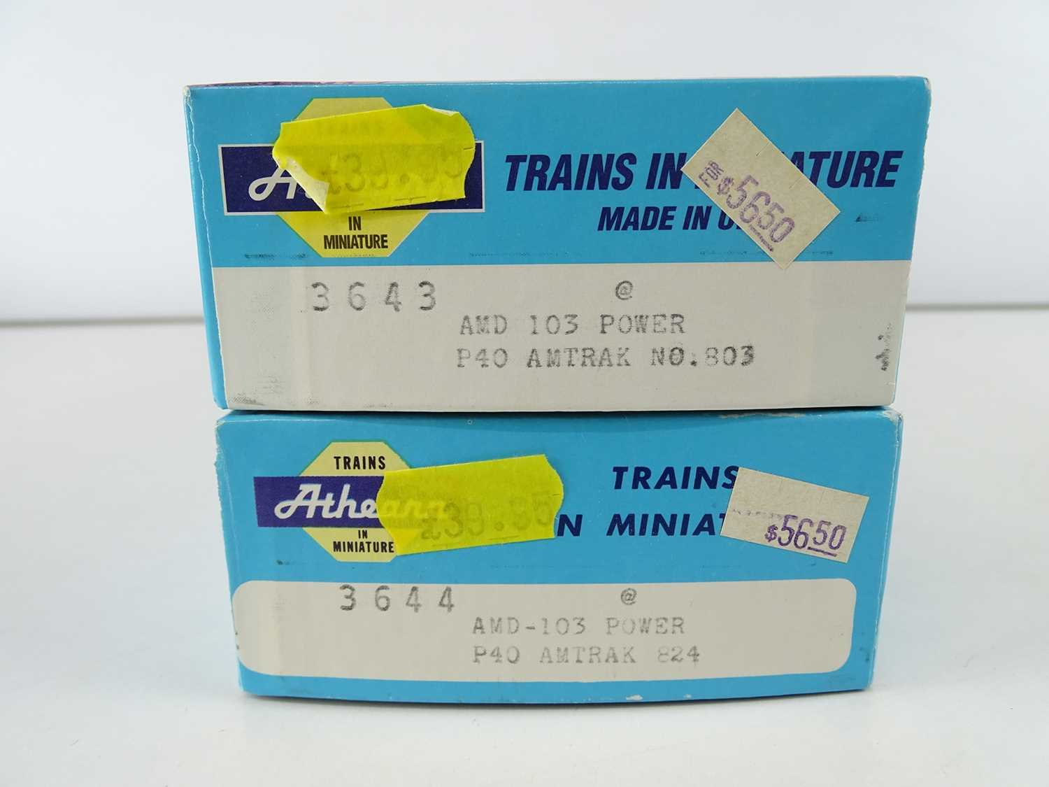 A pair of ATHEARN kit built HO Gauge American Outline 3643 and 3644 AMD-103 P40 Power Cars in Amtrak - Image 2 of 2