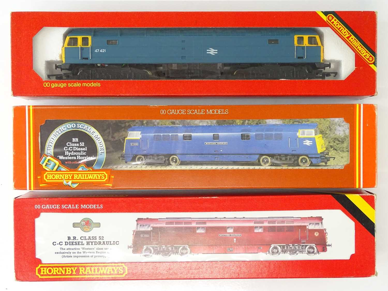 A group of HORNBY OO Gauge diesel locomotives comprising: A Class 47 and two Westerns in BR blue and