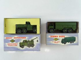 A pair of DINKY military vehicles comprising a 622 Army Truck and a 661 Recovery Tractor (