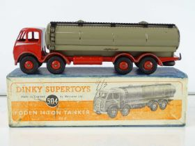 A DINKY Supertoys 504 Foden 14 Ton Tanker - First style cab - red with silver flash and fawn