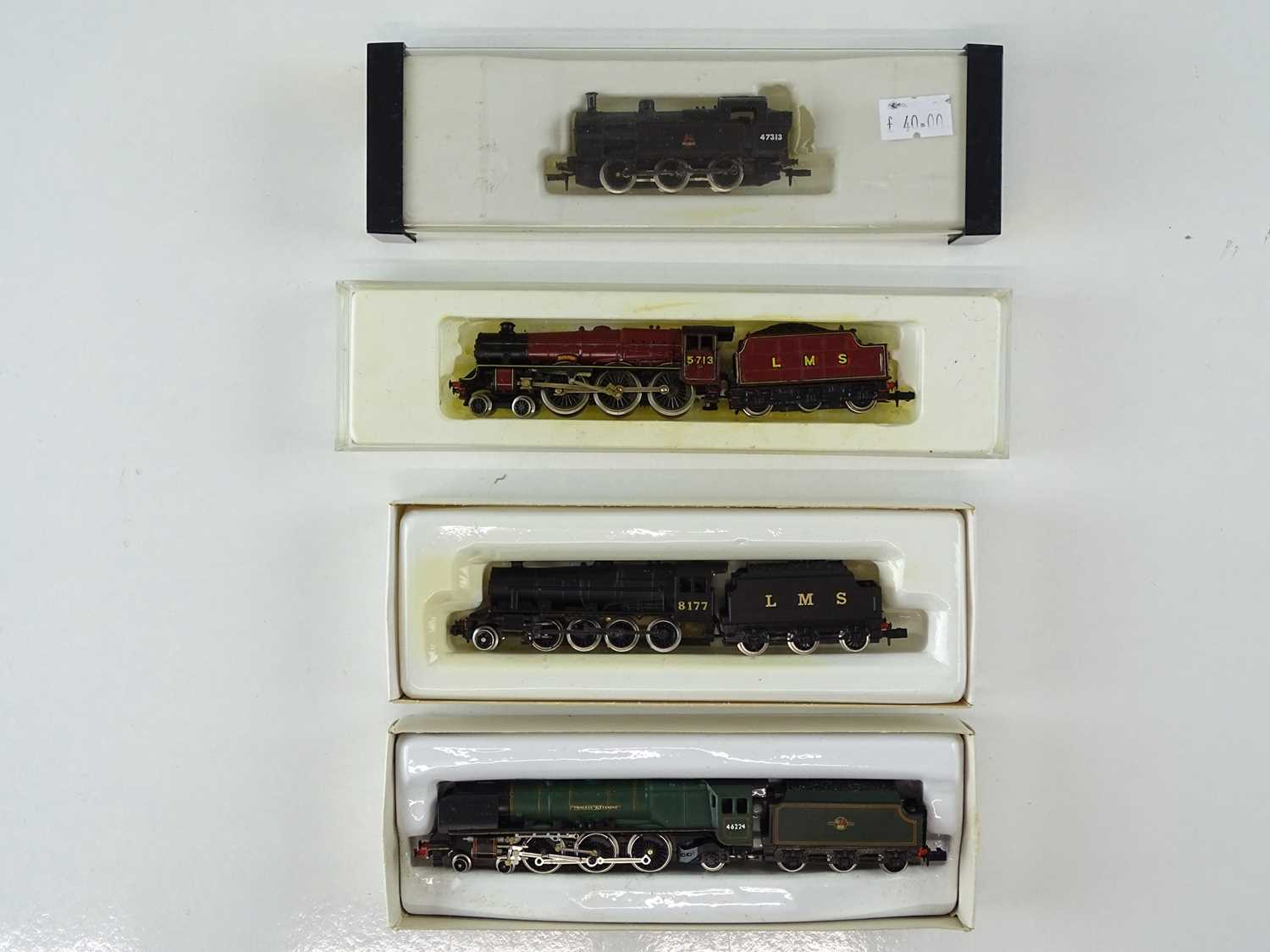 A group of FARISH and PECO N gauge steam locomotives in LMS and BR liveries (Peco and Farish Duchess - Image 2 of 3